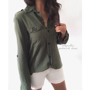Zara Green BF Style Button Down Top